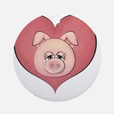 pig heart-001 Round Ornament