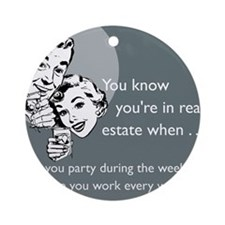 Party Like an Agent Glass Round Ornament