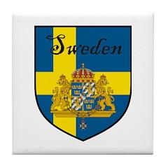 Sweden Flag Crest Shield Tile Coaster