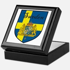 Sweden Flag Crest Shield Keepsake Box
