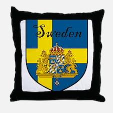Sweden Flag Crest Shield Throw Pillow