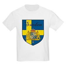 Sweden Flag Crest Shield Kids T-Shirt