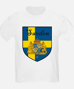 Sweden Flag Crest Shield Kids T-Shirt