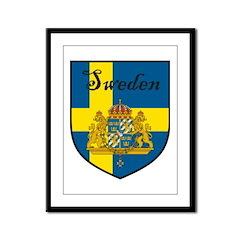 Sweden Flag Crest Shield Framed Panel Print