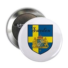 "Sweden Flag Crest Shield 2.25"" Button (100 pack)"