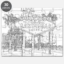 LasVegas_10x10_WelcomeSign_Black_1 Puzzle