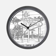 LasVegas_10x10_WelcomeSign_Black_1 Wall Clock