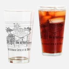 LasVegas_10x10_WelcomeSign_Black_1 Drinking Glass