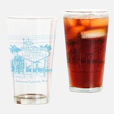 LasVegas_10x10_WelcomeSign_LghtBlue Drinking Glass