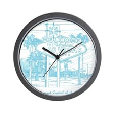 LasVegas_10x10_WelcomeSign_LghtBlue Wall Clock