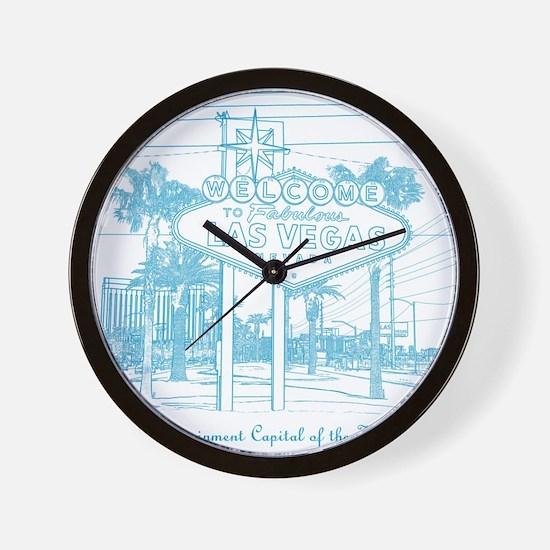 LasVegas_10x10_WelcomeSign_LghtBlue Wall Clock