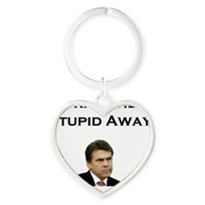 Pray The Stupid Away Heart Keychain