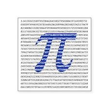 "1018-digits-of-pi-1-black c Square Sticker 3"" x 3"""