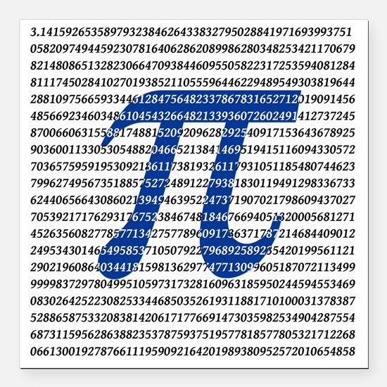"1018-digits-of-pi-1-blac Square Car Magnet 3"" x 3"""