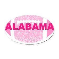 pink lace football Oval Car Magnet