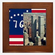 WTC-Complex-Atop-Bennington-Flag-14b14 Framed Tile