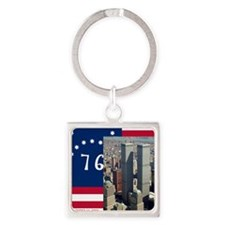 WTC-Complex-Atop-Bennington-Flag-1 Square Keychain