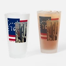 WTC-Complex-Atop-Bennington-Flag-14 Drinking Glass