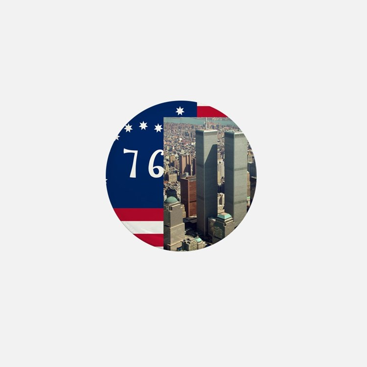 WTC-Complex-Atop-Bennington-Flag-14b14 Mini Button