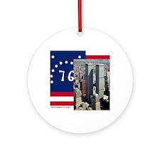 WTC-Complex-Atop-Bennington-Flag-14 Round Ornament