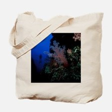 giant soft coral tree and diver Tote Bag