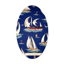 sailboat Oval Car Magnet