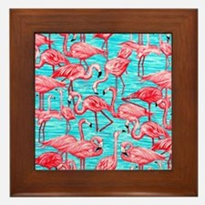 Flamingos Framed Tile