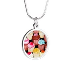 yumming cupcakes Silver Round Necklace