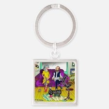 1548_dog_cartoon Square Keychain