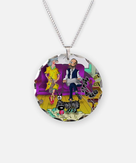 1548_dog_cartoon Necklace Circle Charm