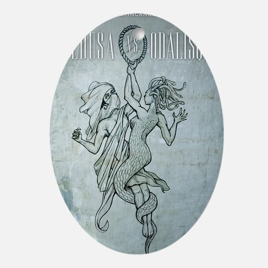Medusa-vs-Odalisque poster Oval Ornament