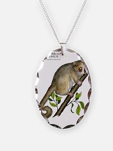 Gray Mouse Lemur Necklace Oval Charm