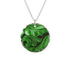 green leaves Necklace Circle Charm