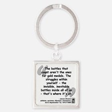 Owens Battles Quote Square Keychain