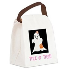 Pink Ghost Trick or Treat Canvas Lunch Bag