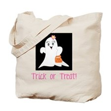 Pink Ghost Trick or Treat Tote Bag