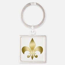 Fleur Gold Square Keychain