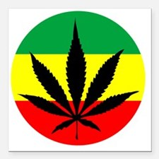 "weedLeafflag2 Square Car Magnet 3"" x 3"""
