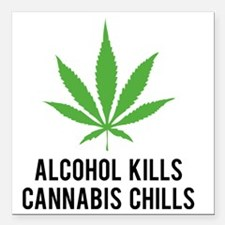 "weedLeafalcohol1 Square Car Magnet 3"" x 3"""