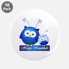 Happy Hanukkah Owls 3.5&Quot; Button (10 Pack)