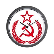 hammer sickle red Wall Clock