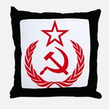 hammer sickle red Throw Pillow