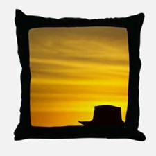Man in Akubra at Sunrise, Mount Buffa Throw Pillow