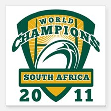 """Rugby ball South Africa  Square Car Magnet 3"""" x 3"""""""