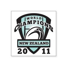 """Rugby ball New Zealand Worl Square Sticker 3"""" x 3"""""""