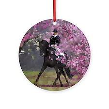 dressage horse 8x11 Round Ornament