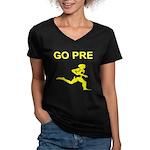 GO PRE Women's V-Neck Dark T-Shirt