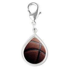 basketball Silver Teardrop Charm