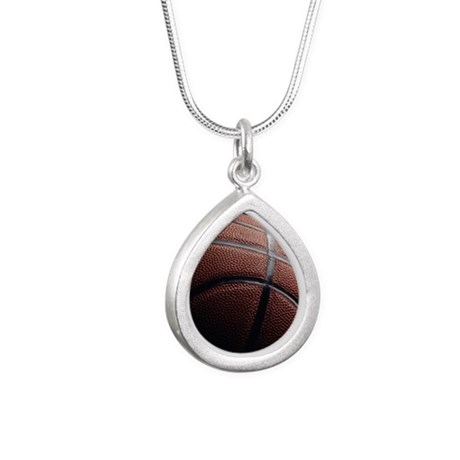 basketball Silver Teardrop Necklace