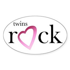 Twins Rock (Heart) - Oval Decal